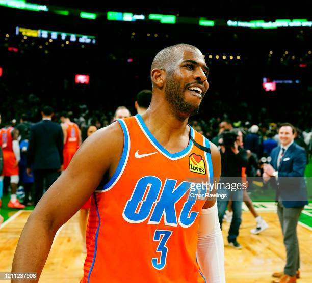Chris Paul of the Oklahoma City Thunder looks on after the game against the Boston Celtics at TD Garden on March 08 2020 in Boston Massachusetts NOTE...