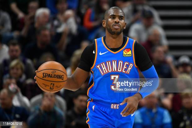Chris Paul of the Oklahoma City Thunder looks on during an opening night game against the Oklahoma City Thunder at Vivint Smart Home Arena on October...