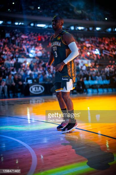 Chris Paul of the Oklahoma City Thunder looks on during the game against the New York Knicks on March 6 2020 at Chesapeake Energy Arena in Oklahoma...