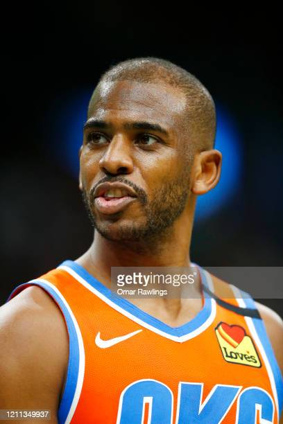 Chris Paul of the Oklahoma City Thunder looks on during the third quarter of the game against the Boston Celtics at TD Garden on March 08 2020 in...