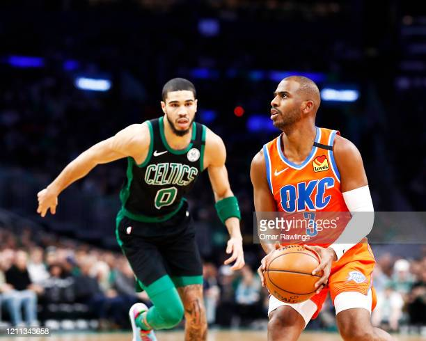 Chris Paul of the Oklahoma City Thunder looks to shoot during the first quarter of the game against the Boston Celtics at TD Garden on March 08 2020...