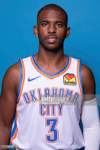 Chris Paul of the Oklahoma City Thunder poses for a head shot during media day on September 30, 2019 at Chesapeake Energy Arena in Oklahoma City,...
