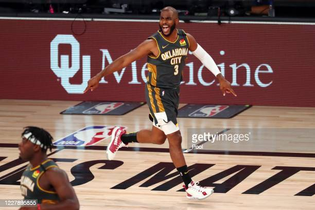 Chris Paul of the Oklahoma City Thunder reacts after a play against the Denver Nuggets in the first half at The Arena at ESPN Wide World Of Sports...