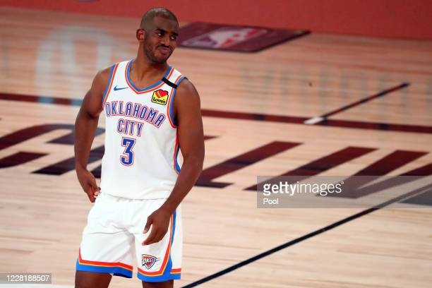 Chris Paul of the Oklahoma City Thunder reacts during the second half of game four against the Houston Rockets of the first round of the 2020 NBA...