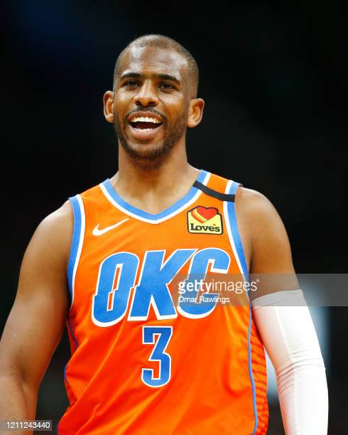 Chris Paul of the Oklahoma City Thunder reacts during the second quarter of the game against the Boston Celtics at TD Garden on March 08 2020 in...