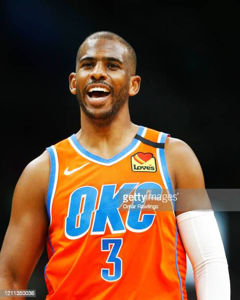 Chris Paul of the Oklahoma City Thunder reacts during the third quarter of the game against the Boston Celtics at TD Garden on March 08 2020 in...