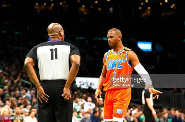 Chris Paul of the Oklahoma City Thunder reacts to referee Derrick Collins during the fourth quarter of the game at TD Garden on March 08 2020 in...