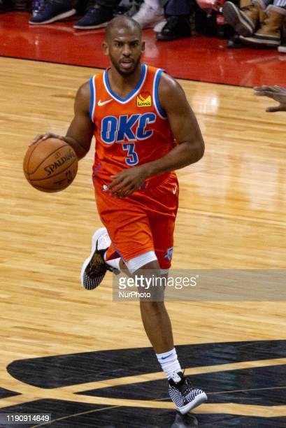 Chris Paul of the Oklahoma City Thunder runs with the ball during the Toronto Raptors vs Oklahoma City Thunder NBA regular season game at Scotiabank...