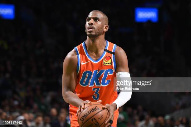 Chris Paul of the Oklahoma City Thunder shoots a free throw against the Boston Celtics on March 8, 2020 at the TD Garden in Boston, Massachusetts....