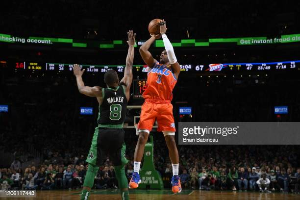 Chris Paul of the Oklahoma City Thunder shoots the ball against the Boston Celtics on March 8 2020 at the TD Garden in Boston Massachusetts NOTE TO...
