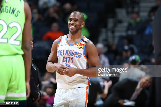 Chris Paul of the Oklahoma City Thunder smiles during the game against the Minnesota Timberwolves on January 25 2020 at Target Center in Minneapolis...