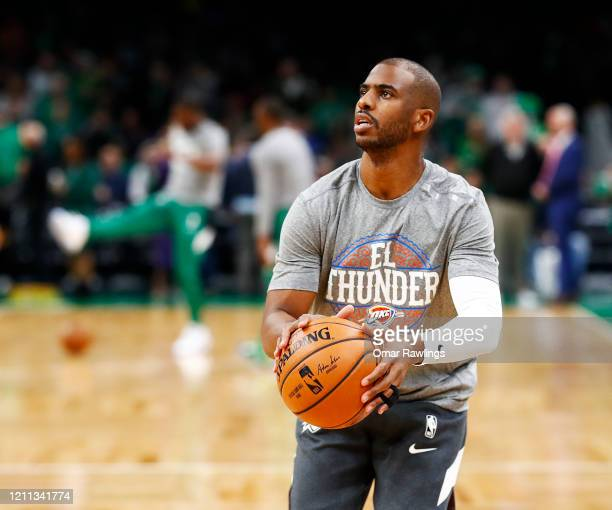 Chris Paul of the Oklahoma City Thunder warms up before the game against the Boston Celtics at TD Garden on March 08 2020 in Boston Massachusetts...