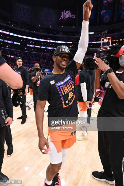 Chris Paul of the Phoenix Suns celebrates after the game against the LA Clippers during Game 6 of the Western Conference Finals of the 2021 NBA...