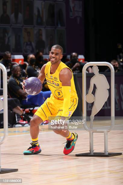 Chris Paul of the Phoenix Suns dribbles during the Taco Bell Skills Challenge as part of 2021 NBA All Star Weekend on March 7, 2021 at State Farm...