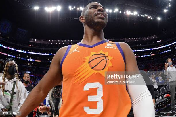 Chris Paul of the Phoenix Suns looks on after the game against the LA Clippers during Game 6 of the Western Conference Finals of the 2021 NBA...
