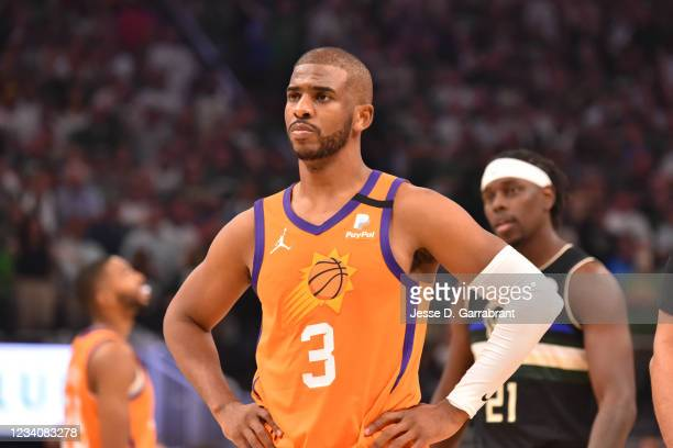 Chris Paul of the Phoenix Suns looks on during Game Six of the 2021 NBA Finals on July 20, 2021 at Fiserv Forum in Milwaukee, Wisconsin. NOTE TO...