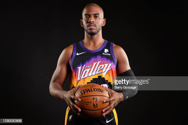 Chris Paul of the Phoenix Suns poses for a portrait during content day at the Verizon 5G Performance Center on December 8, 2020 in Phoenix, Arizona....