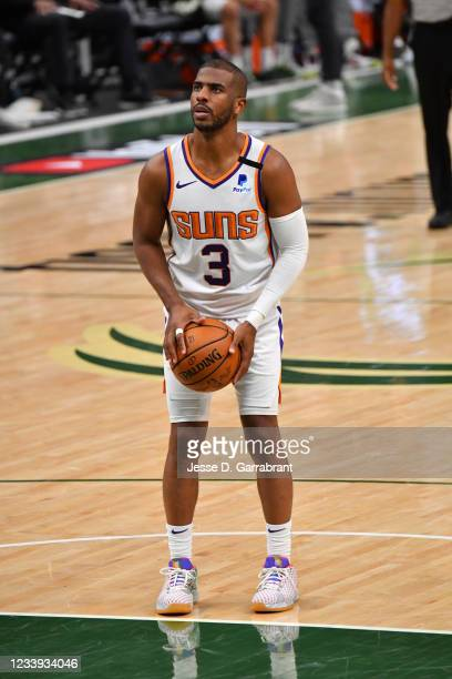 Chris Paul of the Phoenix Suns shoots a free throw during Game Three of the 2021 NBA Finals on July 11, 2021 at Fiserv Forum in Milwaukee, Wisconsin....