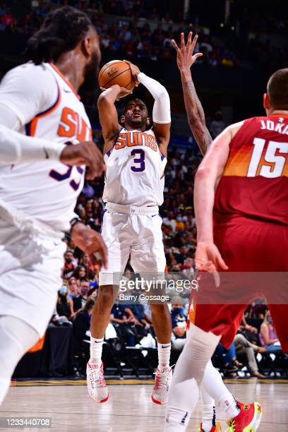 Chris Paul of the Phoenix Suns shoots the ball against the Denver Nuggets during Round 2, Game 4 of the 2021 NBA Playoffs on June 13, 2021 at the...