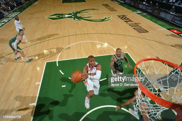 Chris Paul of the Phoenix Suns shoots the ball against the Milwaukee Bucks during Game Three of the 2021 NBA Finals on July 11, 2021 at Fiserv Forum...