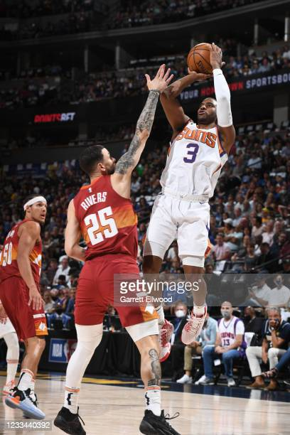 Chris Paul of the Phoenix Suns shoots the ball during the game against the Denver Nuggets during Round 2, Game 4 of the 2021 NBA Playoffs on June 13,...