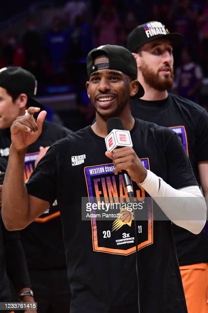 Chris Paul of the Phoenix Suns talks to the media after the game against the LA Clippers during Game 6 of the Western Conference Finals of the 2021...