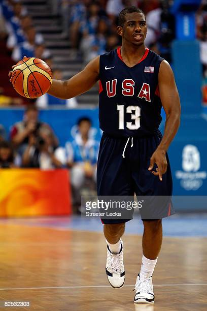 Chris Paul of the United States brings the ball down court in the gold medal game against Spain during Day 16 of the Beijing 2008 Olympic Games at...
