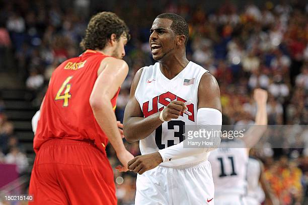 Chris Paul of the United States reacts against Spain during the Men's Basketball gold medal game on Day 16 of the London 2012 Olympics Games at North...