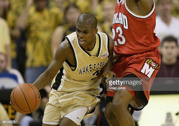 Chris Paul of the Wake Forest Demon Deacons drives on Mike Jones of the University of Maryland Terrapins during the game on January 29 2004 at the...