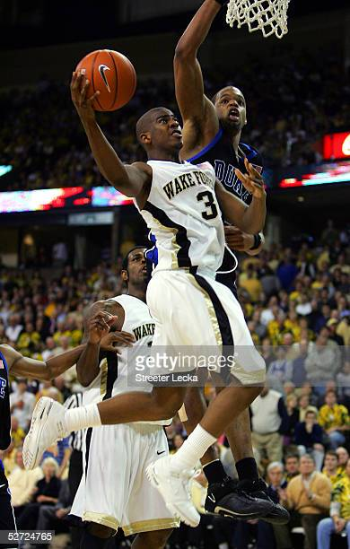 Chris Paul of the Wake Forest Demon Deacons goes up for a layup against the Duke Blue Devils during the game on February 2, 2005 at Lawrence Joel...