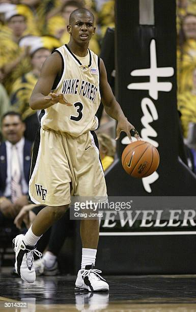 Chris Paul of the Wake Forest Demon Deacons moves the ball during the game against the University of Maryland Terrapins on January 29 2004 at the...