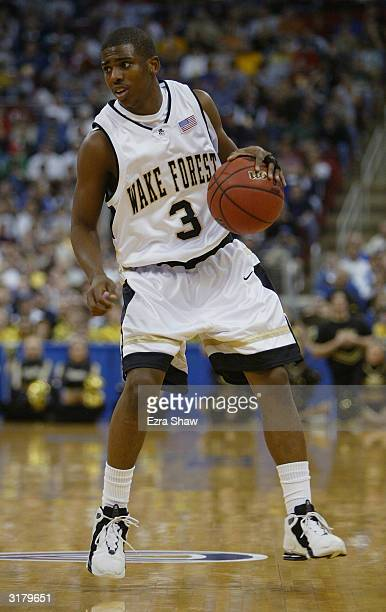 Chris Paul of the Wake Forest Demon Deacons moves the ball during the second round game of the NCAA Division I Men's Basketball Tournament against...
