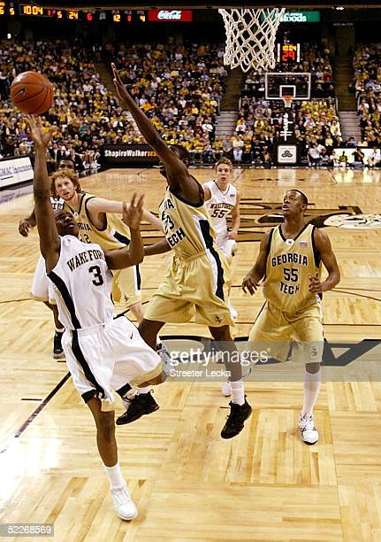 Chris Paul of the Wake Forest Demon Deacons puts up a shot during their game against the Georgia Tech Yellow Jackets on March 2 2005 at Lawrence Joel...