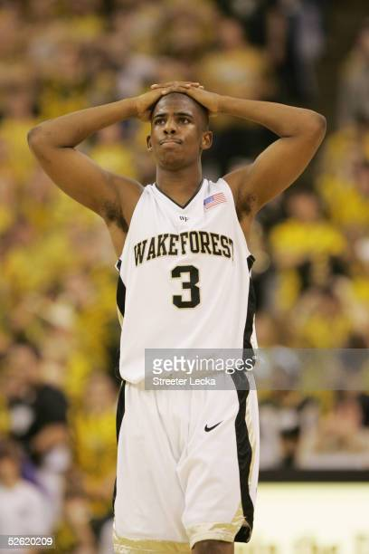 Chris Paul of the Wake Forest Demon Deacons stands on the court during the game against the Georgia Tech Yellow Jackets on March 2 2005 at Lawrence...