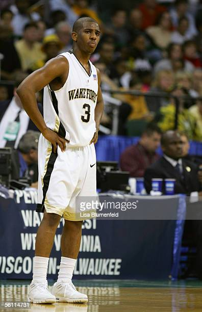 Chris Paul of the Wake Forest Demon Deacons stands on the court during the second round of the 2005 NCAA Championship game against the West Virginia...