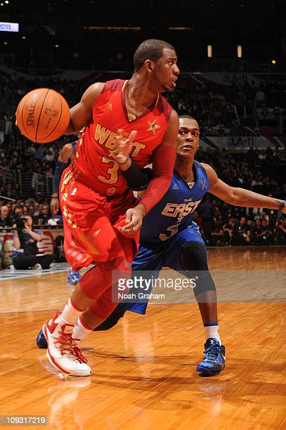 Chris Paul of the Western Conference AllStars dribbles against Rajon Rando of the Eastern Conference AllStars in the 2011 NBA AllStar Game at Staples...