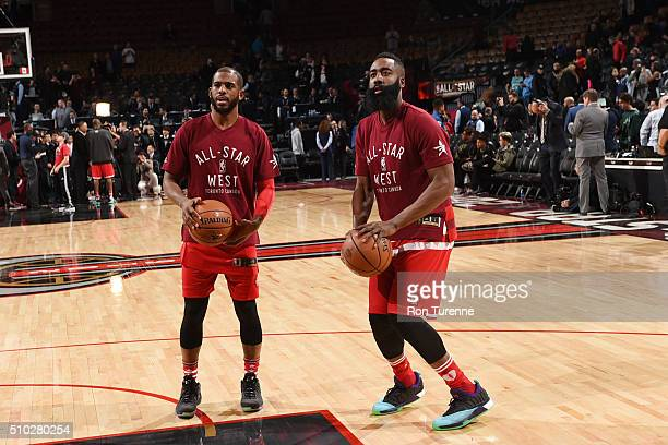 Chris Paul of the Western Conference and James Harden of the Western Conference warms up before the game the 2016 NBA AllStar Game on February 14...