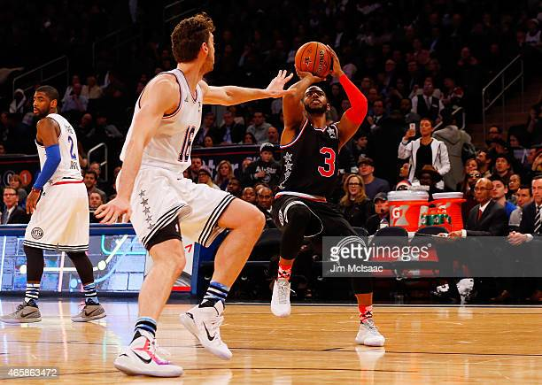 Chris Paul of the Western Conference in action against Pau Gasol of the Eastern Conference during the 2015 NBA AllStar Game at Madison Square Garden...