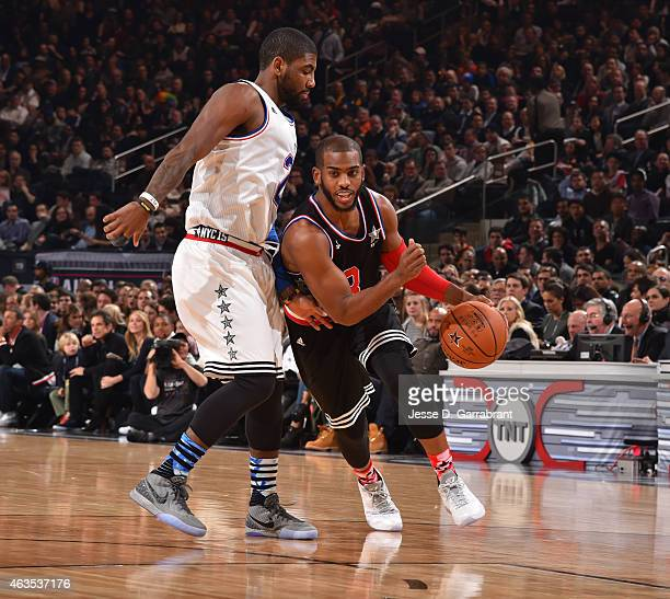 Chris Paul playing for the West Coast allstars drives to the basket during the 2015 NBA AllStar Game at Madison Square Garden on February 15 2015 in...