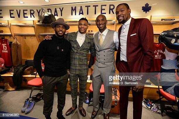 Chris Paul Russell Westbrook Kobe Bryant and Kevin Durant of the Western Conference pose for a photo before the 2016 NBA AllStar Game as part of 2016...