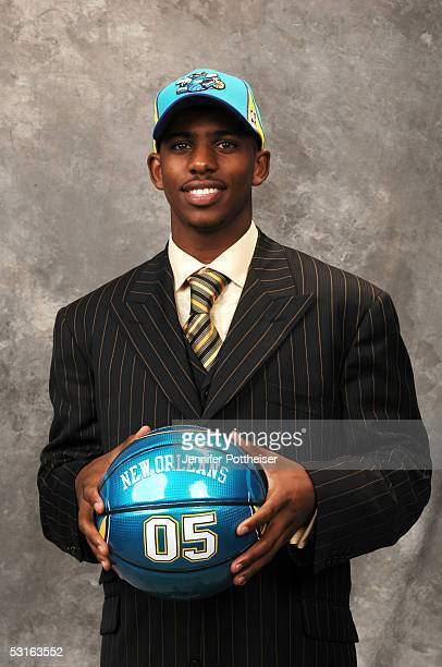 Chris Paul selected by the New Orleans Hornets poses for a portrait during the 2005 NBA Draft on June 28, 2005 at the Theater at Madison Square...