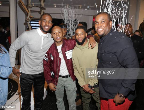 Chris Paul Tyran 'Ty Ty' Smith and friends attend the Madeworn x Roc96 PopUp Event on May 31 2017 in Los Angeles California