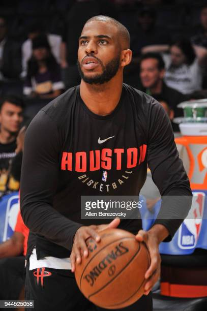 Chris Paul warms up prior to a basketball game between the Los Angeles Lakers and the Houston Rockets at Staples Center on April 10 2018 in Los...