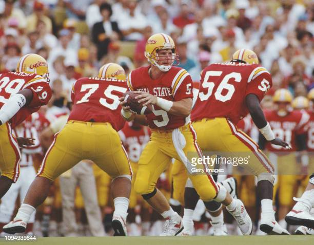 Chris Pedersen Quarterback for the Iowa State Cyclones runs the ball during the NCAA Big Eight Conference college football game against the...