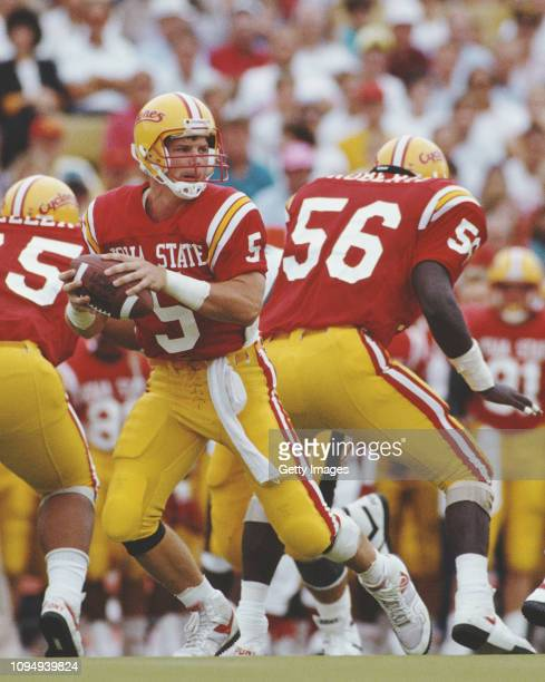 Chris Pedersen, Quarterback for the Iowa State Cyclones runs the ball during the NCAA Big Eight Conference college football game against the...