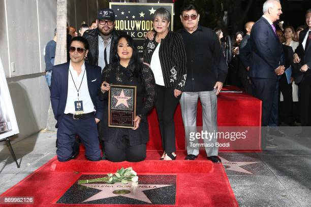 Chris Perez AB Quintanilla III Suzette Quintanilla Marcella Samora and Abraham Quintanilla Jr attend a ceremony honoring Selena Quintanilla with a...