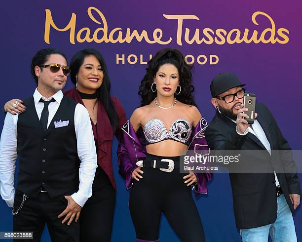 Chris Perez Suzette Quintanilla Selena Quintanilla and AB Quintanilla attend the unveiling of the Selena Quintanilla wax figure at The Madame...