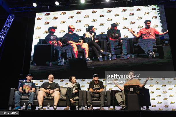Chris Perkins, Chris Lindsay, Kate Welch, Matthew Lillard and Greg Tito speak on stage during ACE Comic Con on June 22, 2018 at WaMu Theatre in...