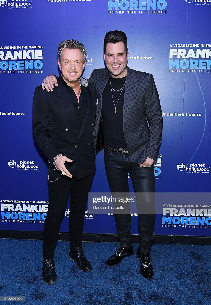 Chris Phillips and Frankie arrive at the opening night of Frankie Moreno��s new show�� �� Under The Influence at Planet Hollywood Resort & Casino on May 4, 2016 in Las Vegas City.