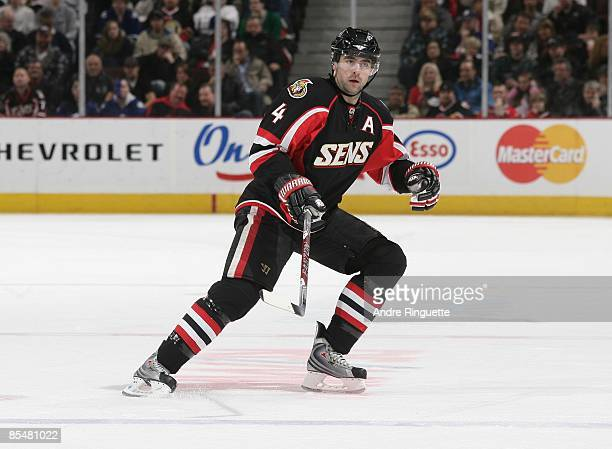 Chris Phillips of the Ottawa Senators skates against the Toronto Maple Leafs at Scotiabank Place on March 9 2009 in Ottawa Ontario Canada